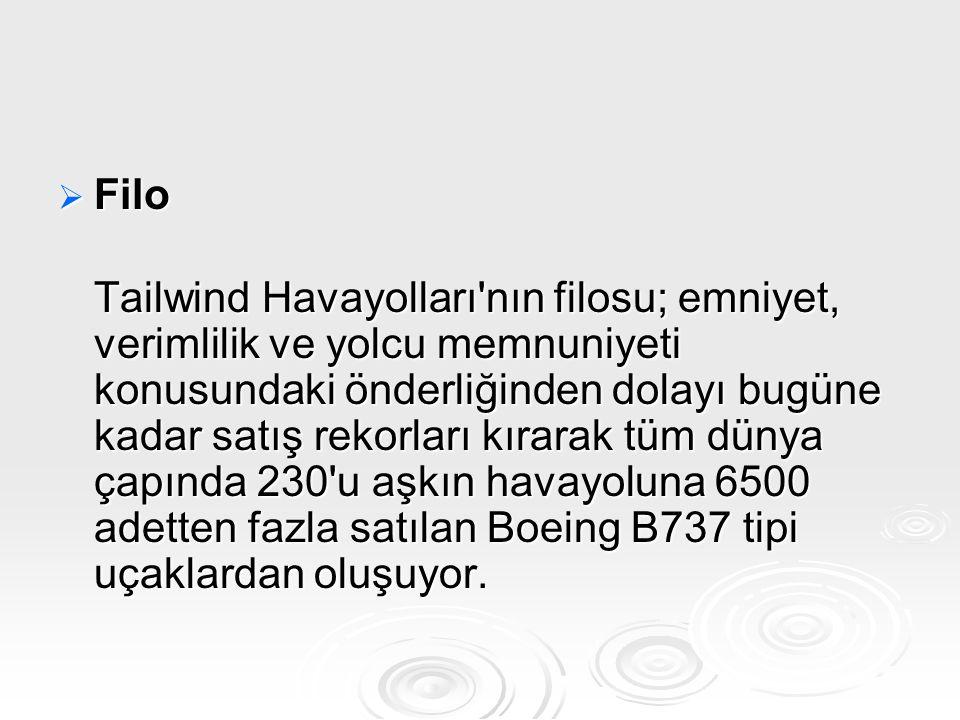  Filo Tailwind Havayolları'nın filosu; emniyet, verimlilik ve yolcu memnuniyeti konusundaki önderliğinden dolayı bugüne kadar satış rekorları kırarak