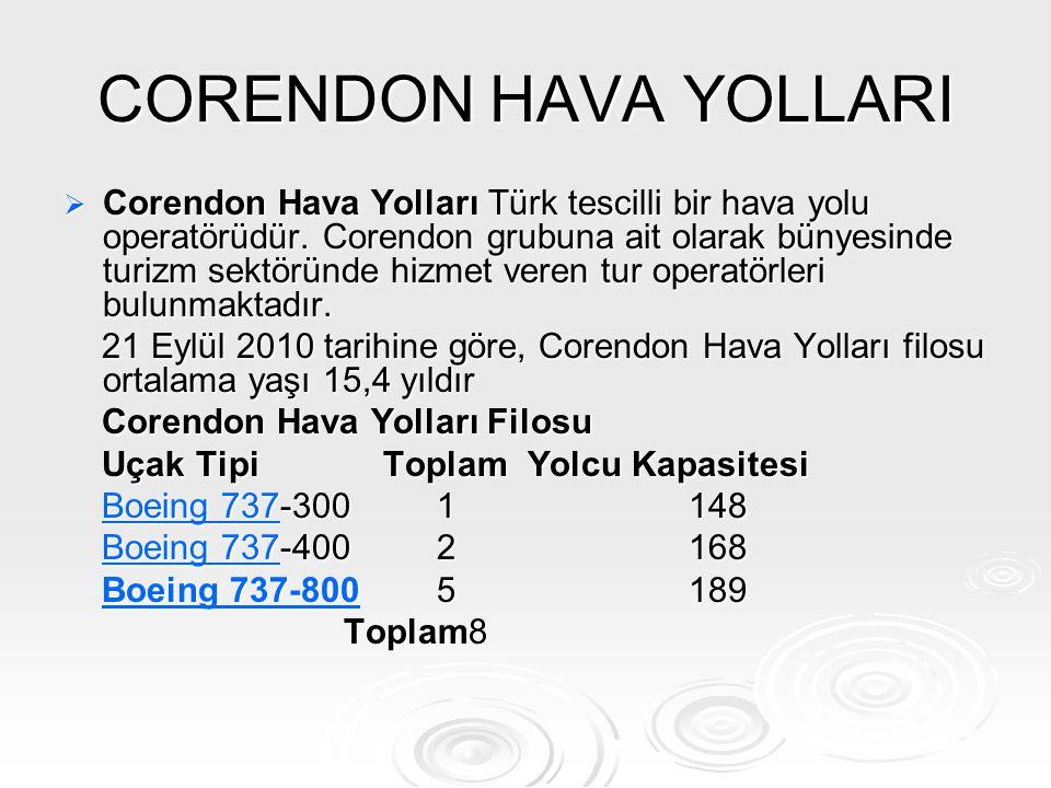 CORENDON HAVA YOLLARI  Corendon Hava Yolları Türk tescilli bir hava yolu operatörüdür. Corendon grubuna ait olarak bünyesinde turizm sektöründe hizme