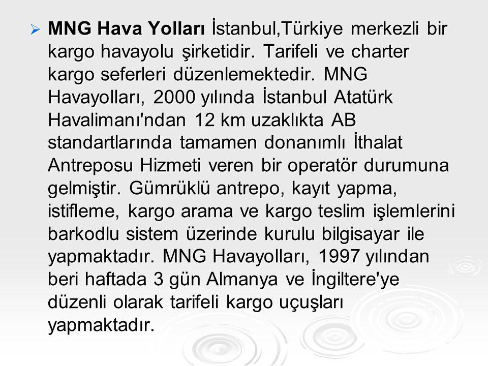  MNG Hava Yolları İstanbul,Türkiye merkezli bir kargo havayolu şirketidir. Tarifeli ve charter kargo seferleri düzenlemektedir. MNG Havayolları, 2000