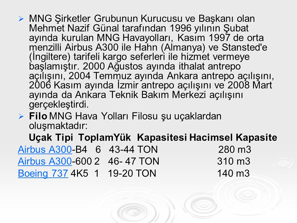  MNG Şirketler Grubunun Kurucusu ve Başkanı olan Mehmet Nazif Günal tarafından 1996 yılının Şubat ayında kurulan MNG Havayolları, Kasım 1997 de orta
