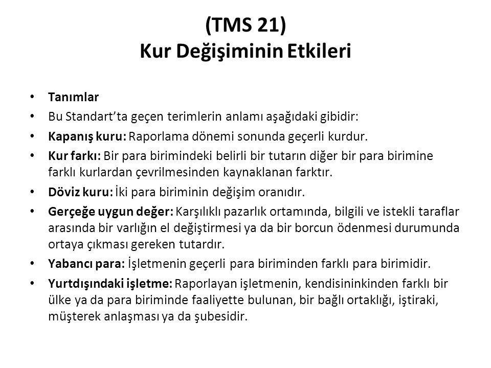 (TMS 21) Kur Değişiminin Etkileri Tanımlar Bu Standart'ta geçen terimlerin anlamı aşağıdaki gibidir: Kapanış kuru: Raporlama dönemi sonunda geçerli ku