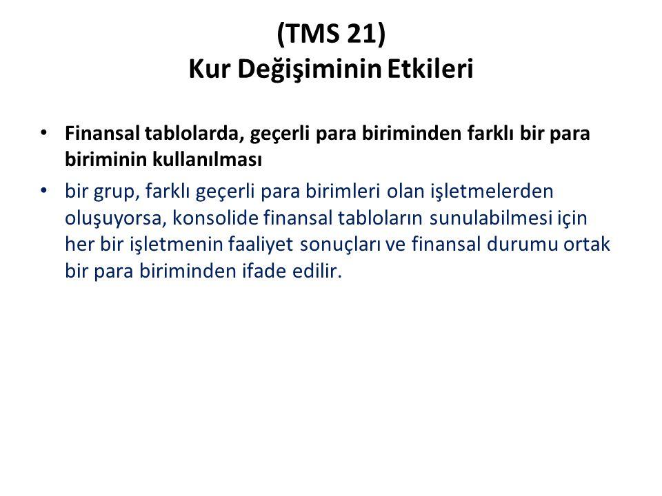 (TMS 21) Kur Değişiminin Etkileri Finansal tablolarda, geçerli para biriminden farklı bir para biriminin kullanılması bir grup, farklı geçerli para bi