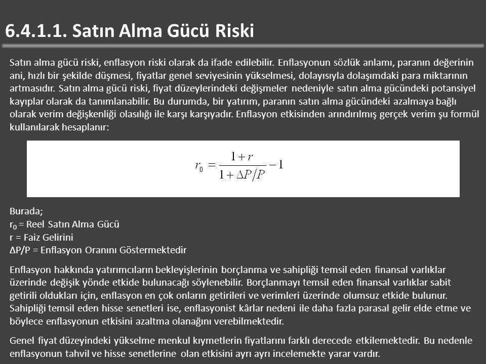 6.4.1.1.Satın Alma Gücü Riski Satın alma gücü riski, enflasyon riski olarak da ifade edilebilir.