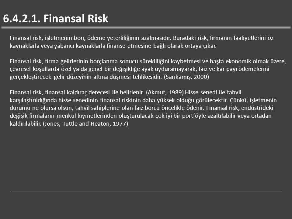 6.4.2.1.Finansal Risk Finansal risk, işletmenin borç ödeme yeterliliğinin azalmasıdır.