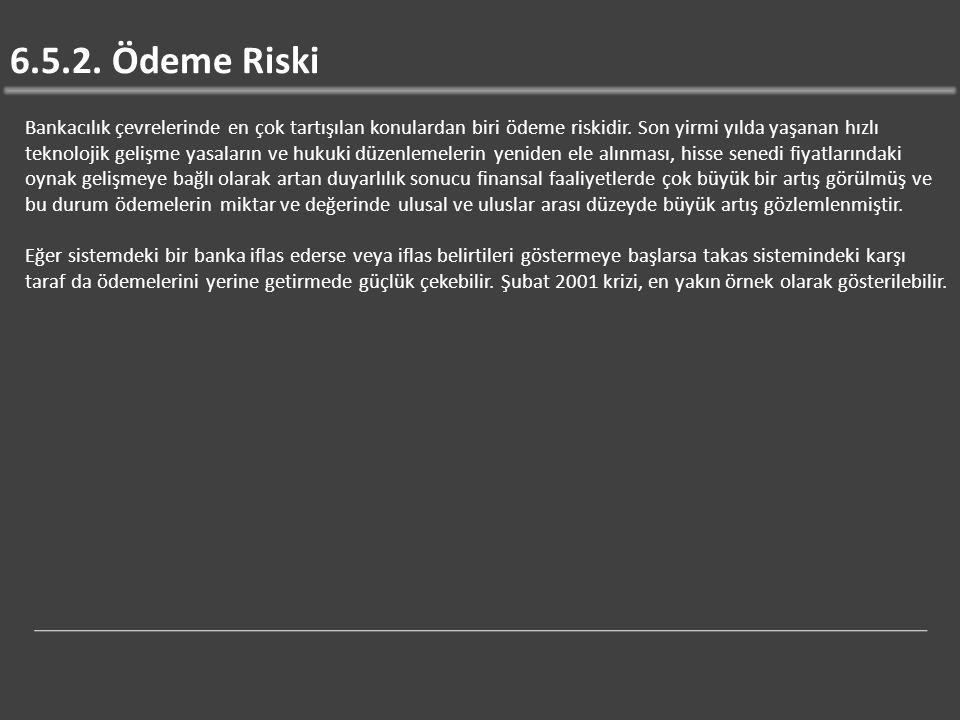 6.5.2.Ödeme Riski Bankacılık çevrelerinde en çok tartışılan konulardan biri ödeme riskidir.