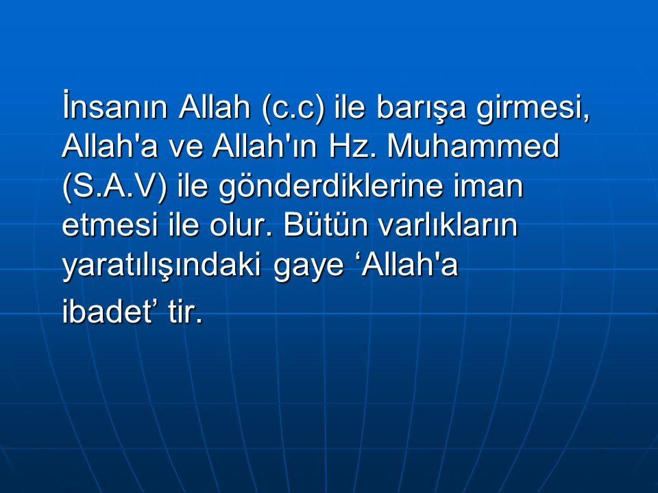 İnsanın Allah (c.c) ile barışa girmesi, Allah'a ve Allah'ın Hz. Muhammed (S.A.V) ile gönderdiklerine iman etmesi ile olur. Bütün varlıkların yaratılış