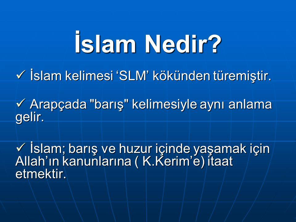 İslam Nedir? İslam kelimesi 'SLM' kökünden türemiştir. İslam kelimesi 'SLM' kökünden türemiştir. Arapçada