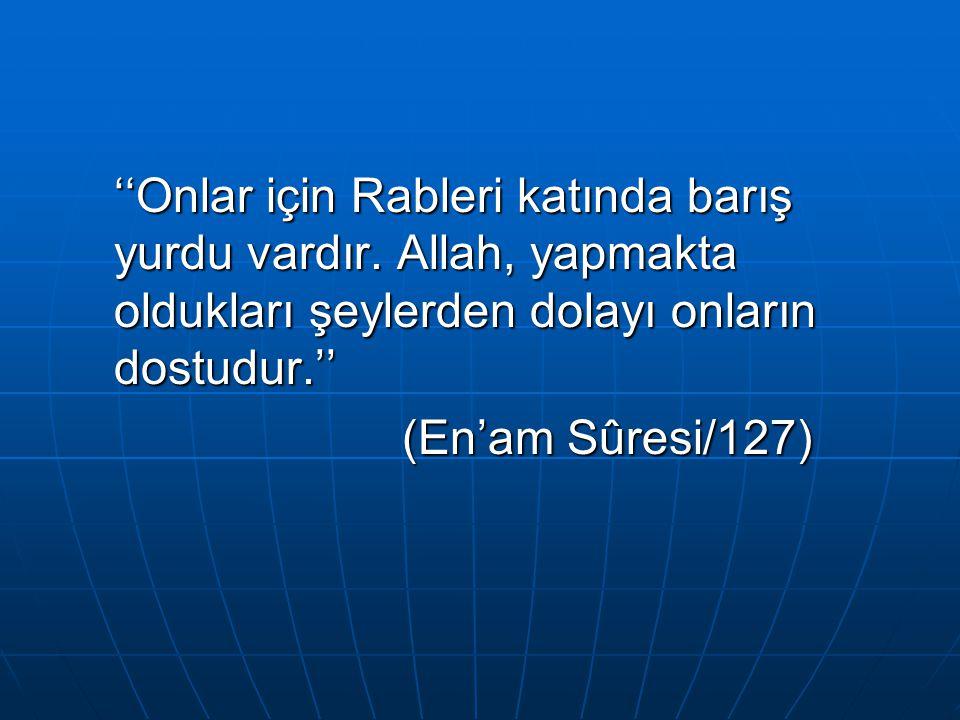 ''Onlar için Rableri katında barış yurdu vardır. Allah, yapmakta oldukları şeylerden dolayı onların dostudur.'' (En'am Sûresi/127)