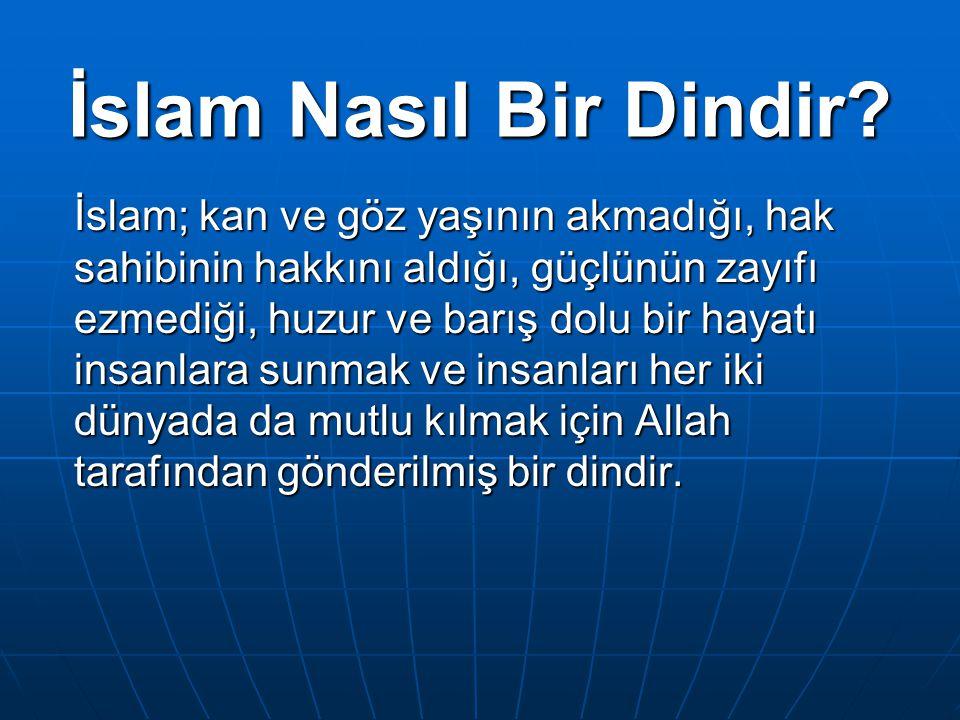 İslam Nasıl Bir Dindir? İslam; kan ve göz yaşının akmadığı, hak sahibinin hakkını aldığı, güçlünün zayıfı ezmediği, huzur ve barış dolu bir hayatı ins
