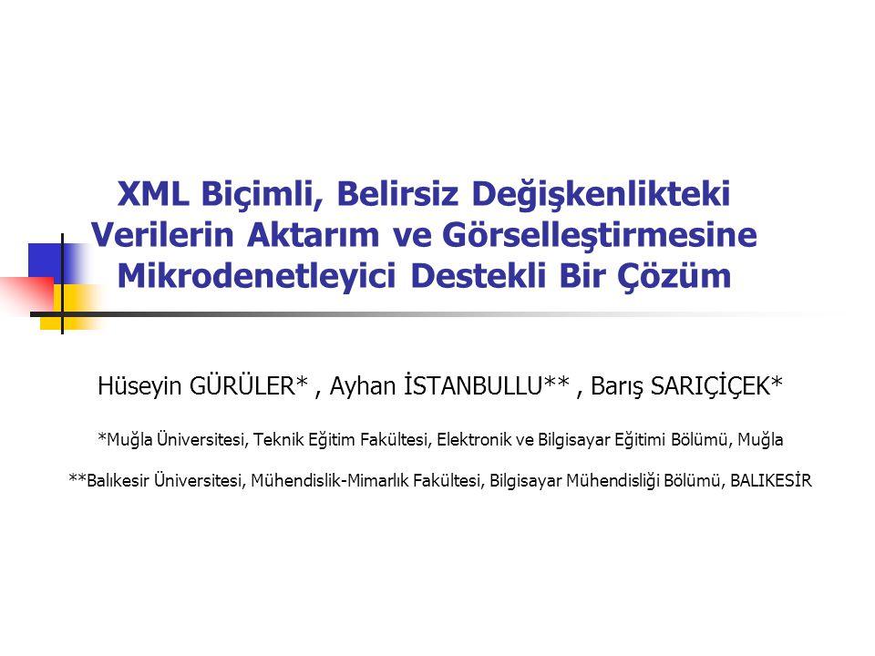 XML Biçimli, Belirsiz Değişkenlikteki Verilerin Aktarım ve Görselleştirmesine Mikrodenetleyici Destekli Bir Çözüm Hüseyin GÜRÜLER*, Ayhan İSTANBULLU**