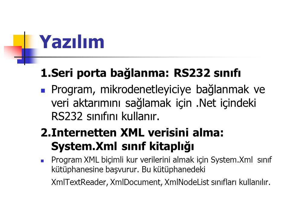Yazılım 1.Seri porta bağlanma: RS232 sınıfı Program, mikrodenetleyiciye bağlanmak ve veri aktarımını sağlamak için.Net içindeki RS232 sınıfını kullanır.