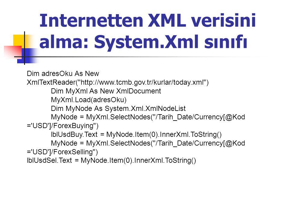 Internetten XML verisini alma: System.Xml sınıfı Dim adresOku As New XmlTextReader(
