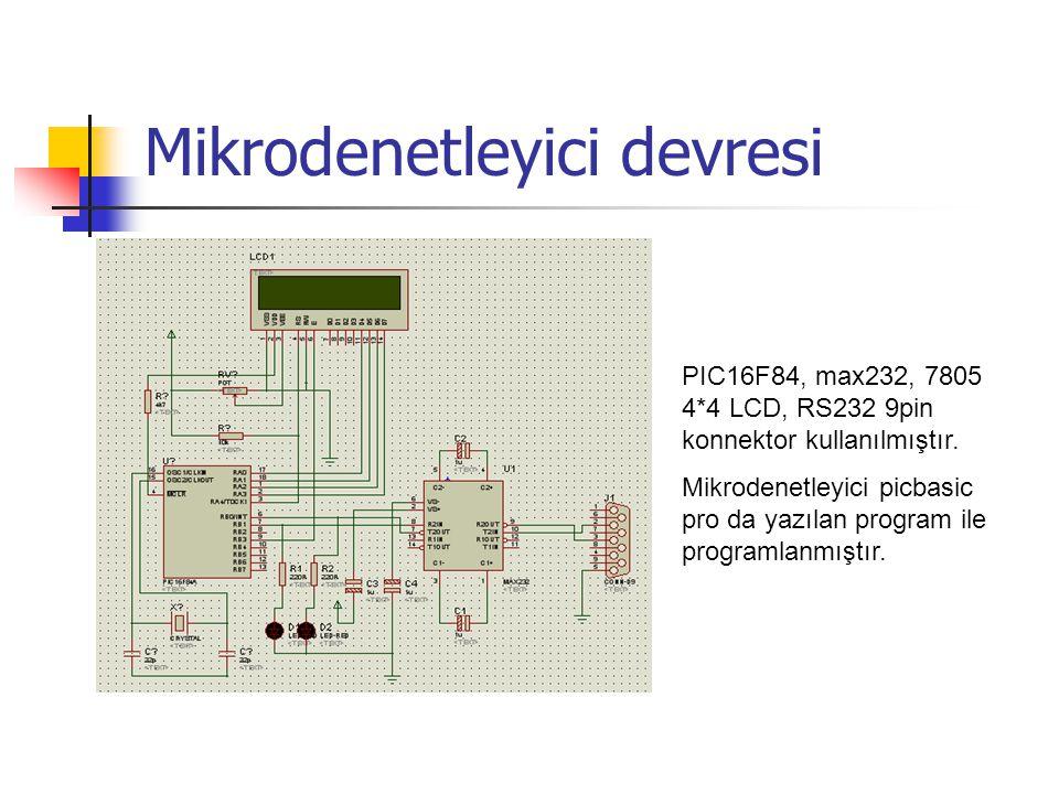 Mikrodenetleyici devresi PIC16F84, max232, 7805 4*4 LCD, RS232 9pin konnektor kullanılmıştır. Mikrodenetleyici picbasic pro da yazılan program ile pro