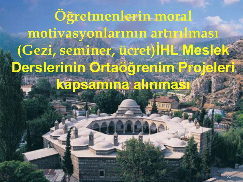 61 Öğretmenlerin moral motivasyonlarının artırılması (Gezi, seminer, ücret) İHL Meslek Derslerinin Ortaöğrenim Projeleri kapsamına alınması