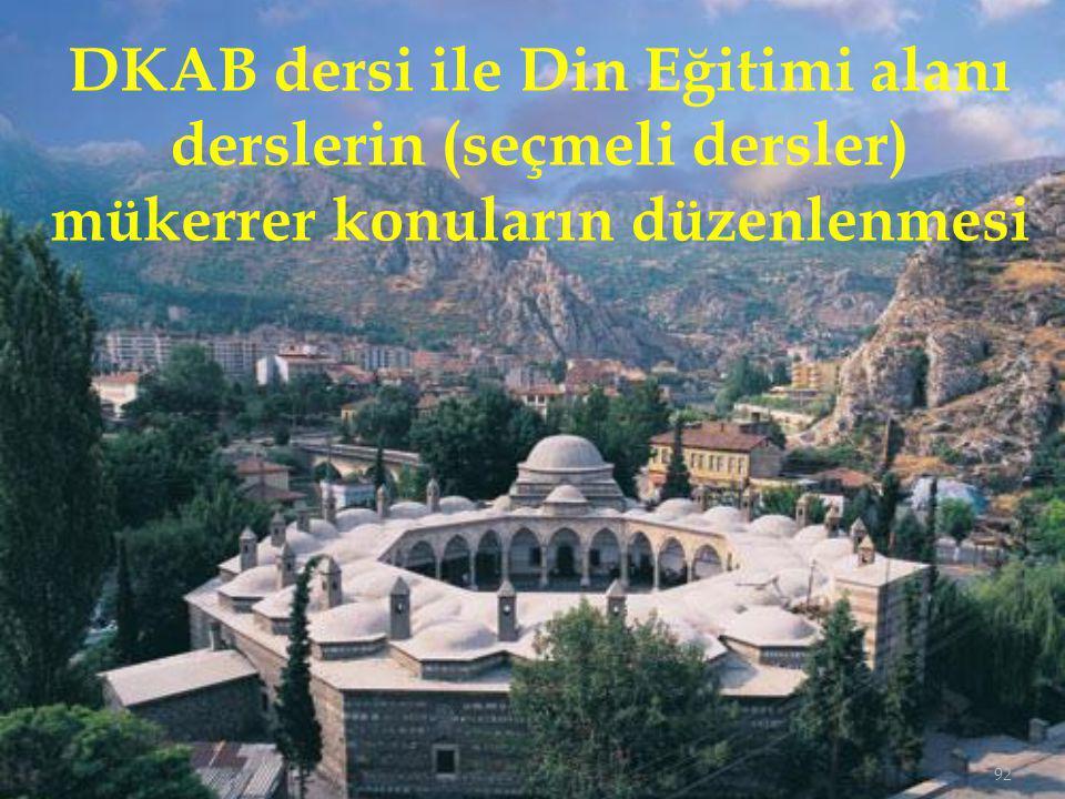 92 DKAB dersi ile Din Eğitimi alanı derslerin (seçmeli dersler) mükerrer konuların düzenlenmesi