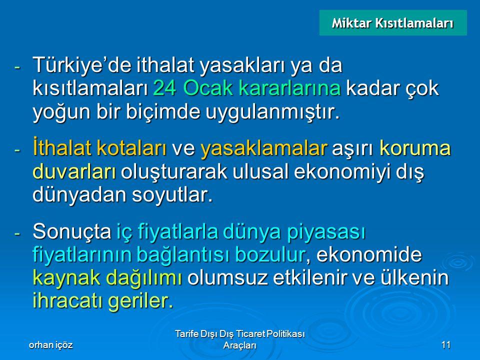 orhan içöz Tarife Dışı Dış Ticaret Politikası Araçları11 - Türkiye'de ithalat yasakları ya da kısıtlamaları 24 Ocak kararlarına kadar çok yoğun bir bi