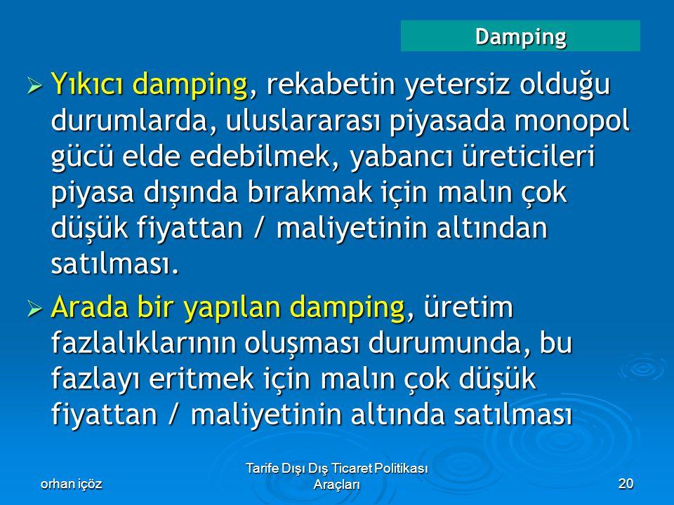 orhan içöz Tarife Dışı Dış Ticaret Politikası Araçları20 Damping  Yıkıcı damping, rekabetin yetersiz olduğu durumlarda, uluslararası piyasada monopol