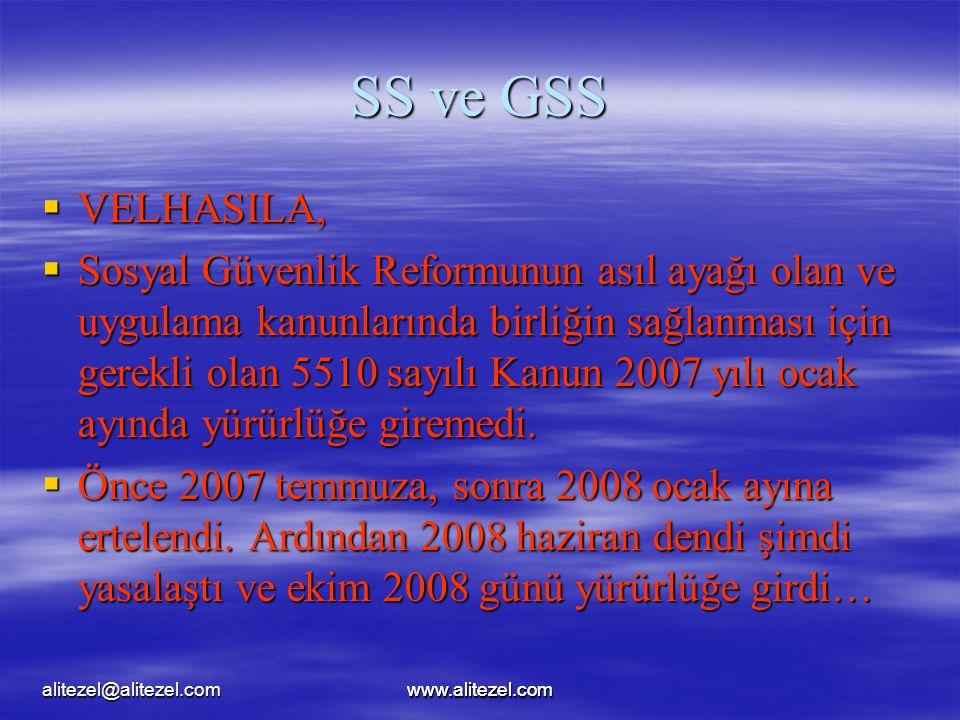 www.alitezel.comalitezel@alitezel.comwww.alitezel.com SS ve GSS  VELHASILA,  Sosyal Güvenlik Reformunun asıl ayağı olan ve uygulama kanunlarında birliğin sağlanması için gerekli olan 5510 sayılı Kanun 2007 yılı ocak ayında yürürlüğe giremedi.