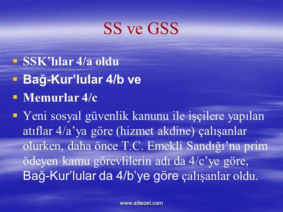 www.alitezel.com SS ve GSS   SSK'lılar 4/a oldu   Bağ-Kur'lular 4/b ve   Memurlar 4/c   Yeni sosyal güvenlik kanunu ile işçilere yapılan atıflar 4/a'ya göre (hizmet akdine) çalışanlar olurken, daha önce T.C.