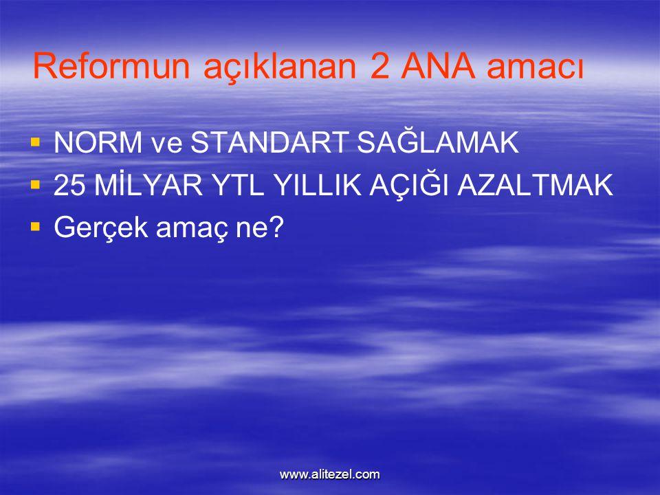 www.alitezel.com Reformun açıklanan 2 ANA amacı   NORM ve STANDART SAĞLAMAK   25 MİLYAR YTL YILLIK AÇIĞI AZALTMAK   Gerçek amaç ne?