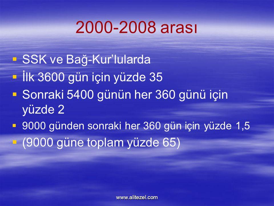 www.alitezel.com 2000-2008 arası   SSK ve Bağ-Kur'lularda   İlk 3600 gün için yüzde 35   Sonraki 5400 günün her 360 günü için yüzde 2   9000 günden sonraki her 360 gün için yüzde 1,5   (9000 güne toplam yüzde 65)