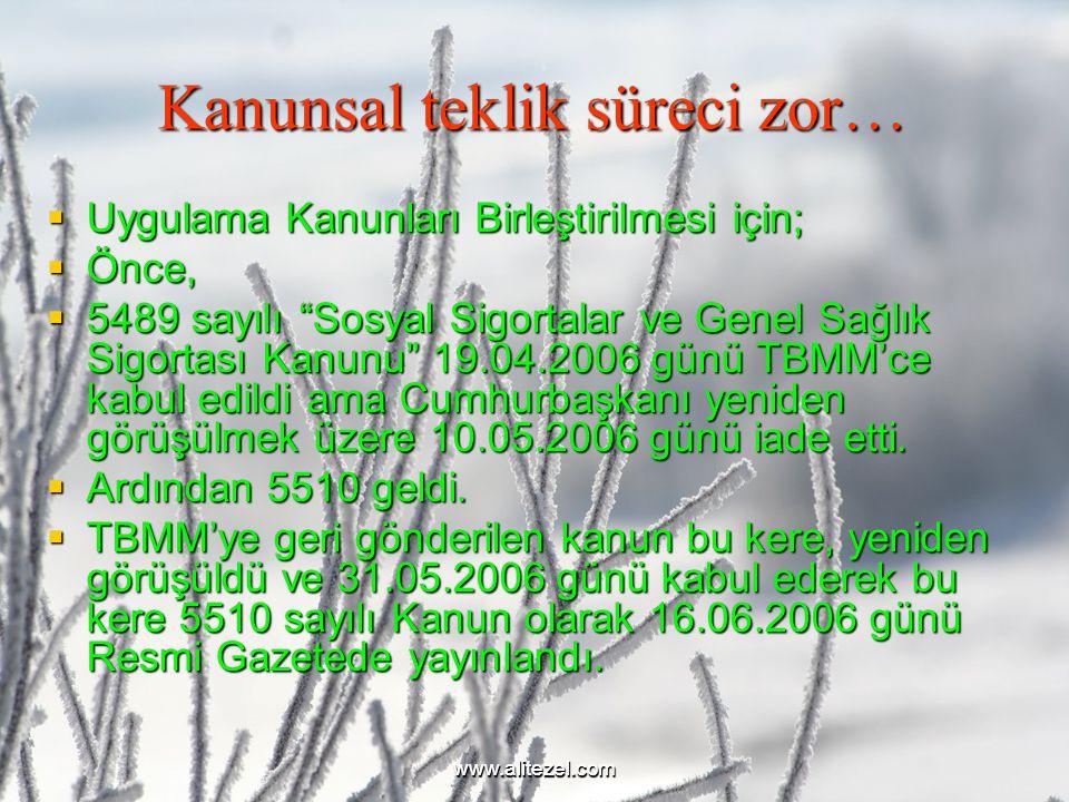 www.alitezel.comwww.alitezel.com Kanunsal teklik süreci zor…  Uygulama Kanunları Birleştirilmesi için;  Önce,  5489 sayılı Sosyal Sigortalar ve Genel Sağlık Sigortası Kanunu 19.04.2006 günü TBMM'ce kabul edildi ama Cumhurbaşkanı yeniden görüşülmek üzere 10.05.2006 günü iade etti.