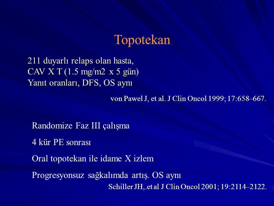 von Pawel J, et al. J Clin Oncol 1999; 17:658–667. Schiller JH,.et al J Clin Oncol 2001; 19:2114–2122. Randomize Faz III çalışma 4 kür PE sonrası Oral