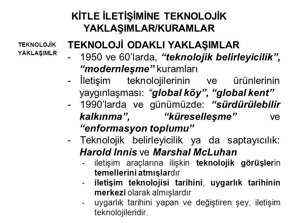 KİTLE İLETİŞİMİNE TEKNOLOJİK YAKLAŞIMLAR TEKNOLOJİK YAKLAŞIMLR TEKNOLOJİ ODAKLI YAKLAŞIMLAR Marshall Mcluhan - Araç, Mesajdır ( Medium is Message ) -Türkiye'deki Amerikan üsleri, radarları, füzeleri, bazıları için güven, dayanak, destek iletisi taşırken; diğer bazıları için ise tam aksi anlamda bir iletidir.