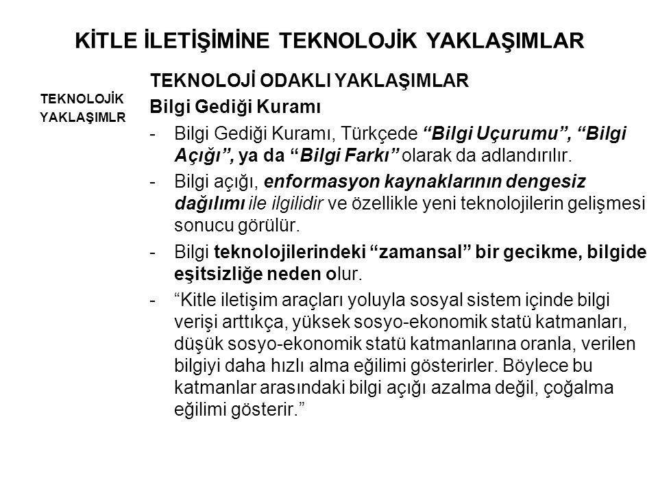 """KİTLE İLETİŞİMİNE TEKNOLOJİK YAKLAŞIMLAR TEKNOLOJİK YAKLAŞIMLR TEKNOLOJİ ODAKLI YAKLAŞIMLAR Bilgi Gediği Kuramı -Bilgi Gediği Kuramı, Türkçede """"Bilgi"""