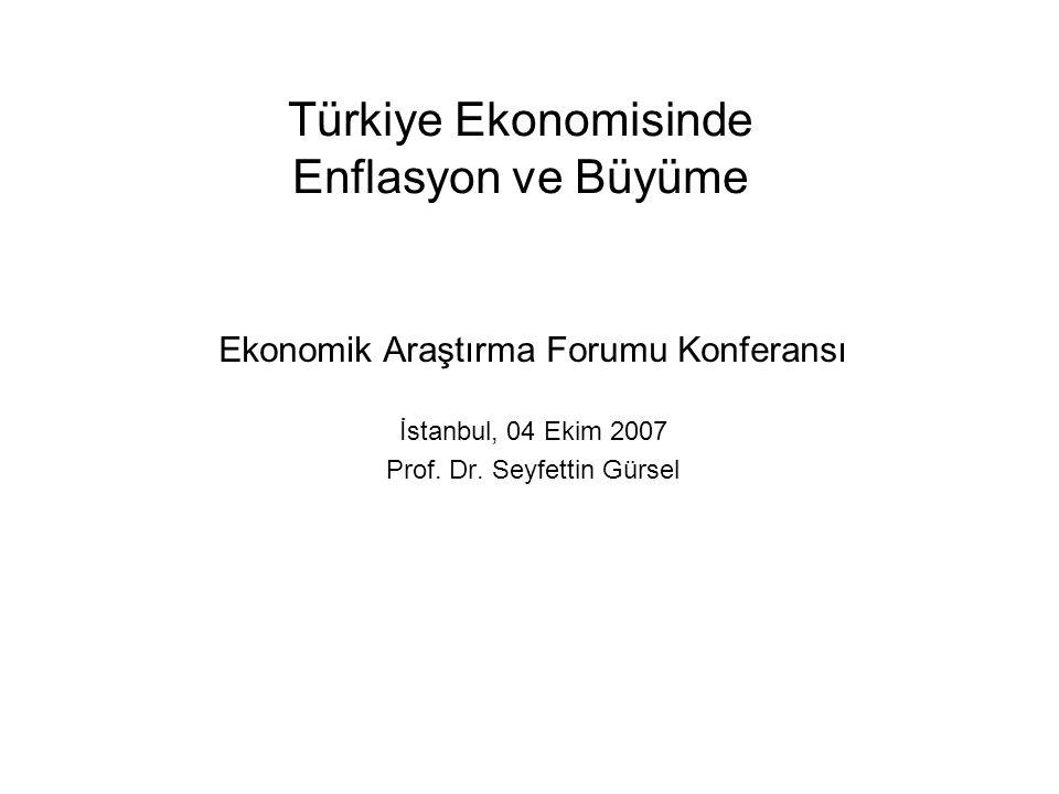 Türkiye Ekonomisinde Enflasyon ve Büyüme Ekonomik Araştırma Forumu Konferansı İstanbul, 04 Ekim 2007 Prof.