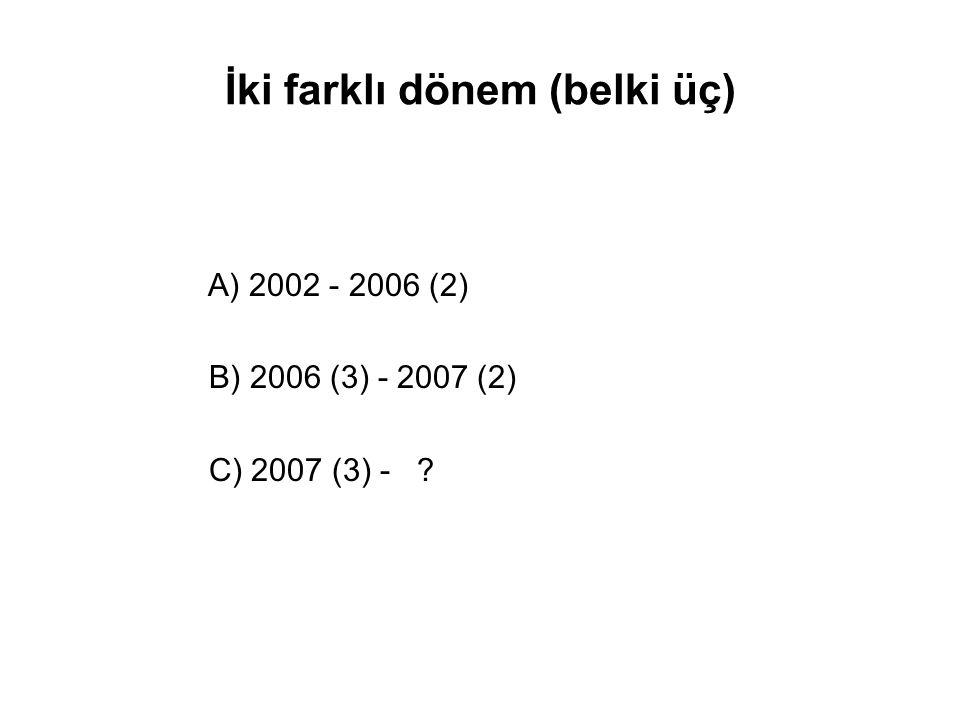 İki farklı dönem (belki üç) A) 2002 - 2006 (2) B) 2006 (3) - 2007 (2) C) 2007 (3) - ?