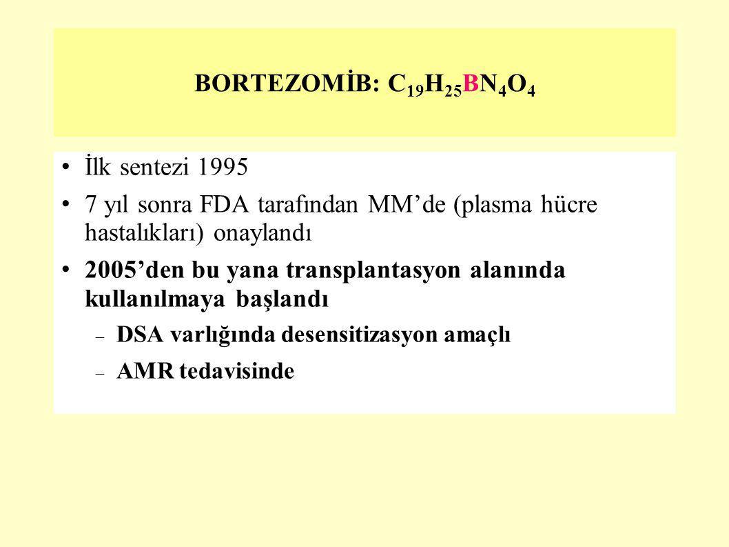BORTEZOMİB: C 19 H 25 BN 4 O 4 İlk sentezi 1995 7 yıl sonra FDA tarafından MM'de (plasma hücre hastalıkları) onaylandı 2005'den bu yana transplantasyo