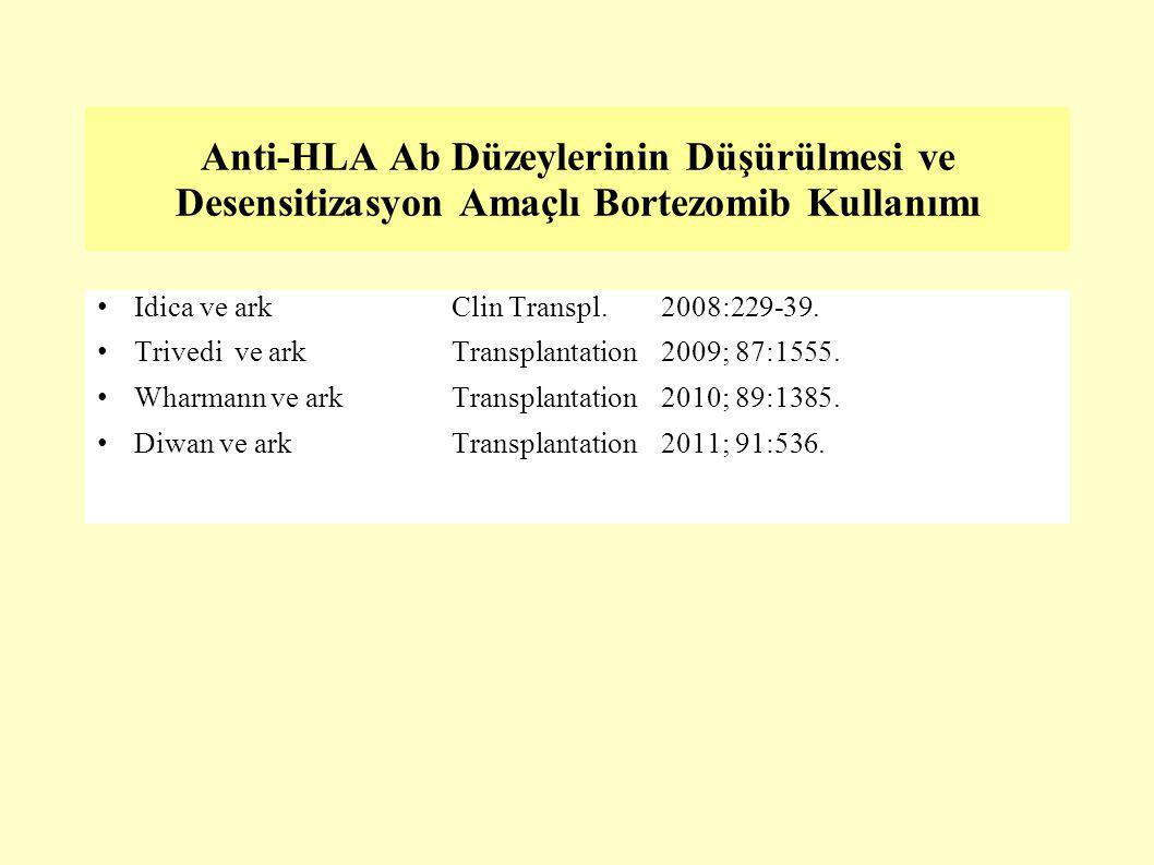 Anti-HLA Ab Düzeylerinin Düşürülmesi ve Desensitizasyon Amaçlı Bortezomib Kullanımı Idica ve arkClin Transpl. 2008:229-39. Trivedi ve arkTransplantati