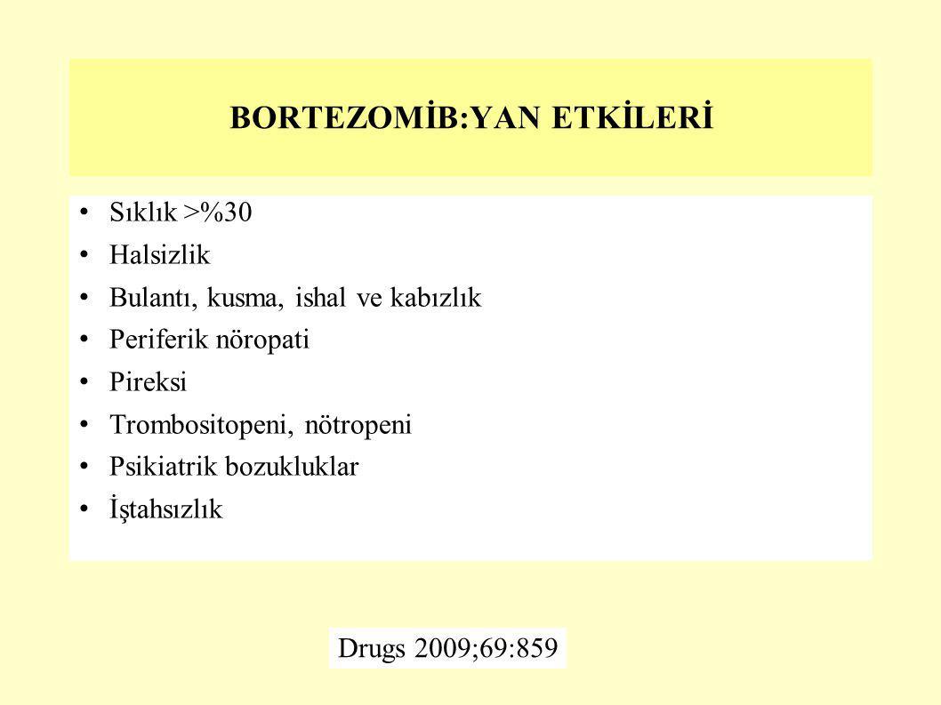 BORTEZOMİB:YAN ETKİLERİ Sıklık >%30 Halsizlik Bulantı, kusma, ishal ve kabızlık Periferik nöropati Pireksi Trombositopeni, nötropeni Psikiatrik bozukl