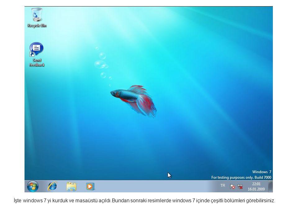 İşte windows 7 yi kurduk ve masaüstü açıldı.Bundan sonraki resimlerde windows 7 içinde çeşitli bölümleri görebilirsiniz.