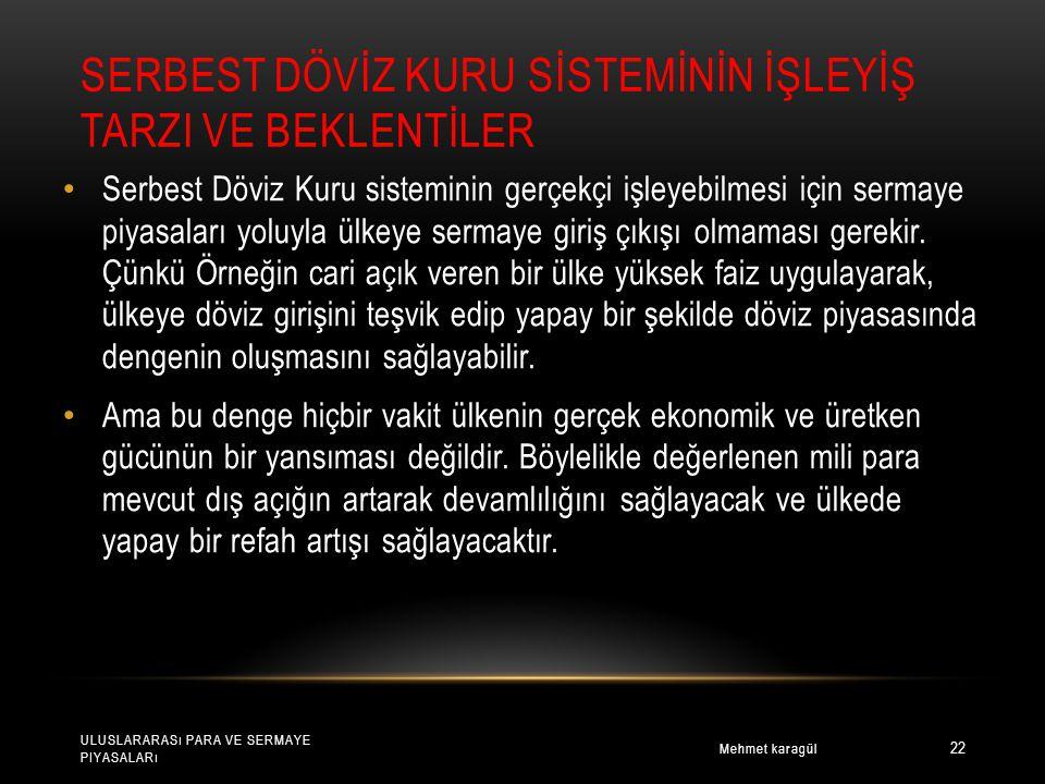 SERBEST DÖVİZ KURU SİSTEMİNİN İŞLEYİŞ TARZI VE BEKLENTİLER Mehmet karagül ULUSLARARASı PARA VE SERMAYE PIYASALARı 22 Serbest Döviz Kuru sisteminin gerçekçi işleyebilmesi için sermaye piyasaları yoluyla ülkeye sermaye giriş çıkışı olmaması gerekir.
