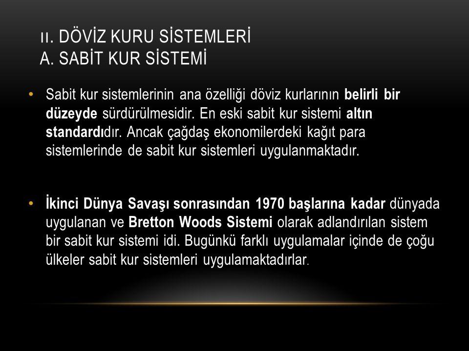 I.DÖVİZ KURU SİSTEMLERİ B.