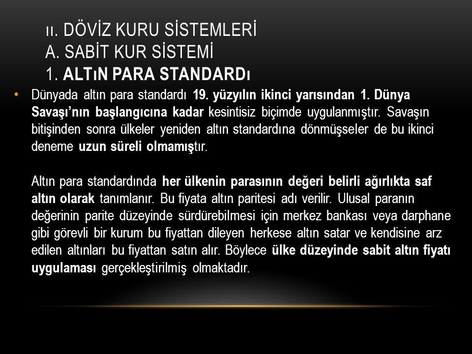 II.DÖVİZ KURU SİSTEMLERİ A.SABİT KUR SİSTEMİ 2.