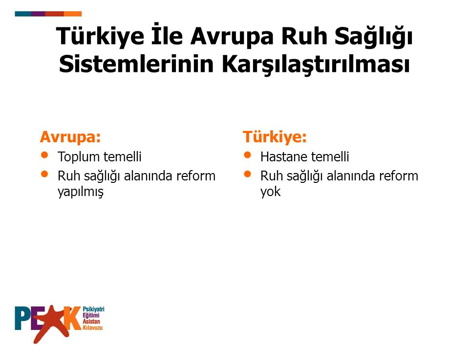 Türkiye İle Avrupa Ruh Sağlığı Sistemlerinin Karşılaştırılması Avrupa: Toplum temelli Ruh sağlığı alanında reform yapılmış Türkiye: Hastane temelli Ruh sağlığı alanında reform yok