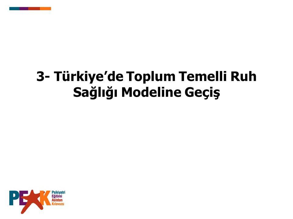 3- Türkiye'de Toplum Temelli Ruh Sağlığı Modeline Geçiş
