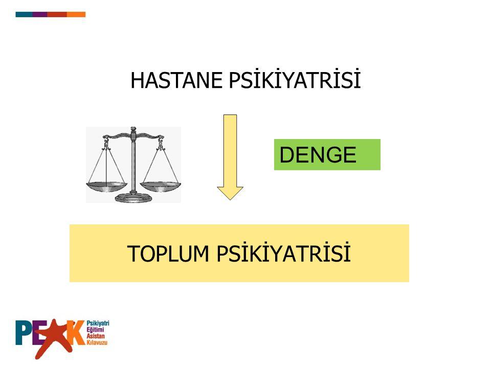 TOPLUM PSİKİYATRİSİ HASTANE PSİKİYATRİSİ DENGE