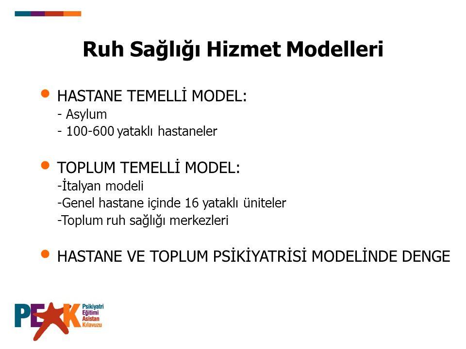 HASTANE TEMELLİ MODEL: - Asylum - 100-600 yataklı hastaneler TOPLUM TEMELLİ MODEL: -İtalyan modeli -Genel hastane içinde 16 yataklı üniteler -Toplum ruh sağlığı merkezleri HASTANE VE TOPLUM PSİKİYATRİSİ MODELİNDE DENGE Ruh Sağlığı Hizmet Modelleri