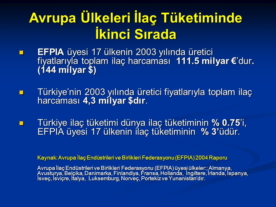 Avrupa Ülkeleri İlaç Tüketiminde İkinci Sırada EFPIA üyesi 17 ülkenin 2003 yılında üretici fiyatlarıyla toplam ilaç harcaması 111.5 milyar €'dur. (144