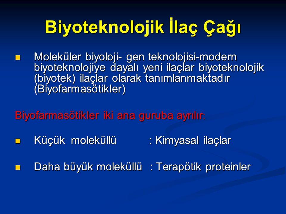 Biyoteknolojik İlaç Çağı Moleküler biyoloji- gen teknolojisi-modern biyoteknolojiye dayalı yeni ilaçlar biyoteknolojik (biyotek) ilaçlar olarak tanımlanmaktadır (Biyofarmasötikler) Moleküler biyoloji- gen teknolojisi-modern biyoteknolojiye dayalı yeni ilaçlar biyoteknolojik (biyotek) ilaçlar olarak tanımlanmaktadır (Biyofarmasötikler) Biyofarmasötikler iki ana guruba ayrılır : Küçük moleküllü : Kimyasal ilaçlar Küçük moleküllü : Kimyasal ilaçlar Daha büyük moleküllü : Terapötik proteinler Daha büyük moleküllü : Terapötik proteinler