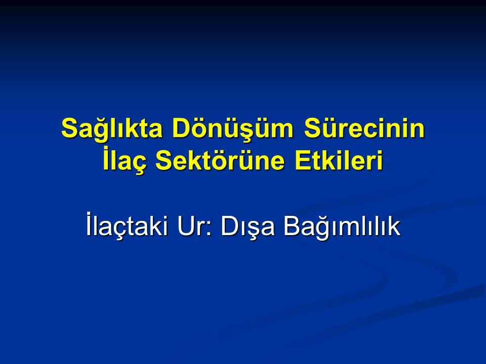 İthal İlaçlar Ulusal Pazarımıza Hakim Oluyor 1990'da Türkiye'de ithal ilaçların payı toplam pazarın % 6' sıydı.