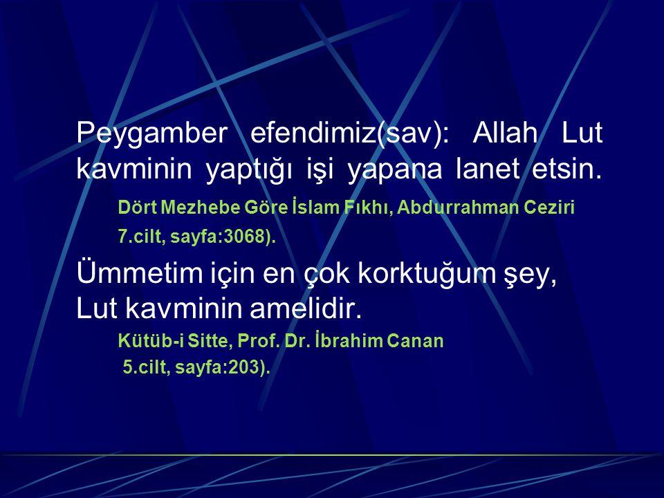 Peygamber efendimiz(sav): Allah Lut kavminin yaptığı işi yapana lanet etsin. Dört Mezhebe Göre İslam Fıkhı, Abdurrahman Ceziri 7.cilt, sayfa:3068). Üm