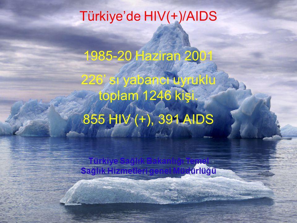Türkiye'de HIV(+)/AIDS 1985-20 Haziran 2001 226' sı yabancı uyruklu toplam 1246 kişi. 855 HIV (+), 391 AIDS Türkiye Sağlık Bakanlığı Temel Sağlık Hizm