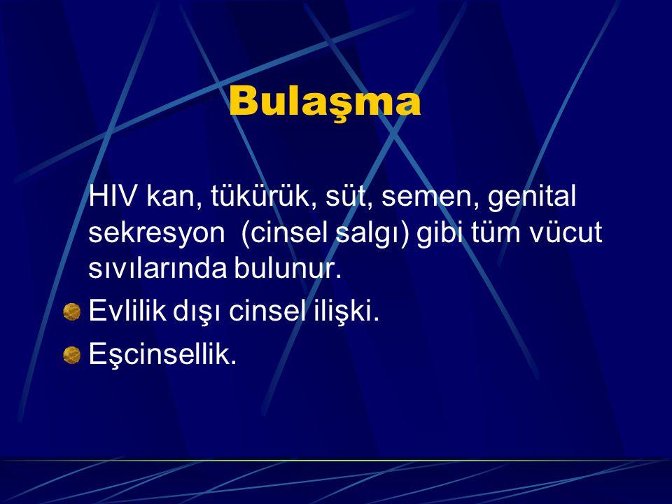 Bulaşma HIV kan, tükürük, süt, semen, genital sekresyon (cinsel salgı) gibi tüm vücut sıvılarında bulunur. Evlilik dışı cinsel ilişki. Eşcinsellik.