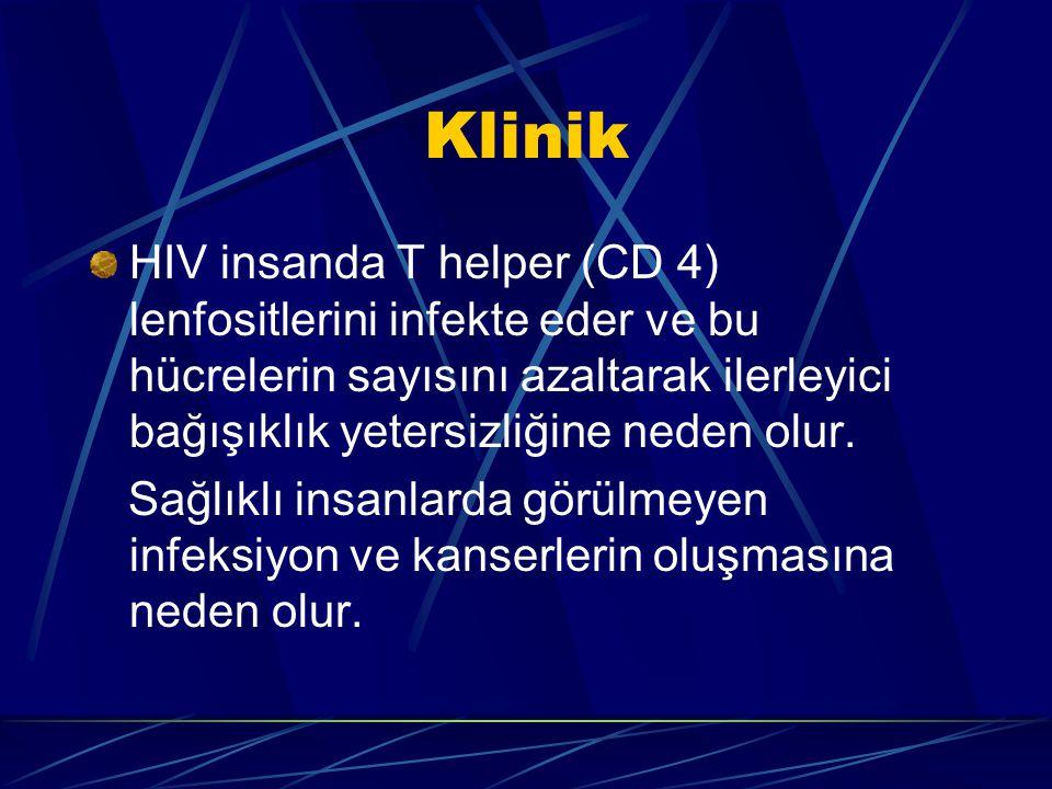 Klinik HIV insanda T helper (CD 4) lenfositlerini infekte eder ve bu hücrelerin sayısını azaltarak ilerleyici bağışıklık yetersizliğine neden olur. Sa