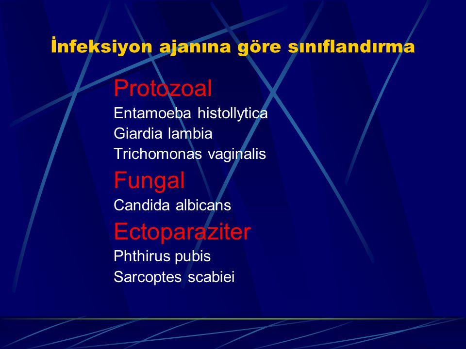 İnfeksiyon ajanına göre sınıflandırma Protozoal Entamoeba histollytica Giardia lambia Trichomonas vaginalis Fungal Candida albicans Ectoparaziter Phth
